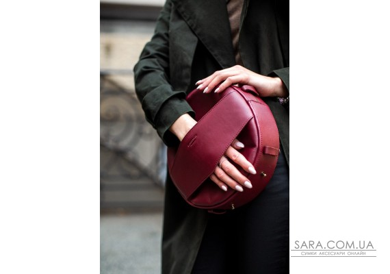 Шкіряна жіноча кругла сумка-рюкзак Maxi бордова - BN-BAG-30-vin BlankNote