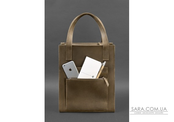 Шкіряна жіноча сумка шоппер Бетсі з кишенею темно-коричнева - BN-BAG-10-1-o BlankNote