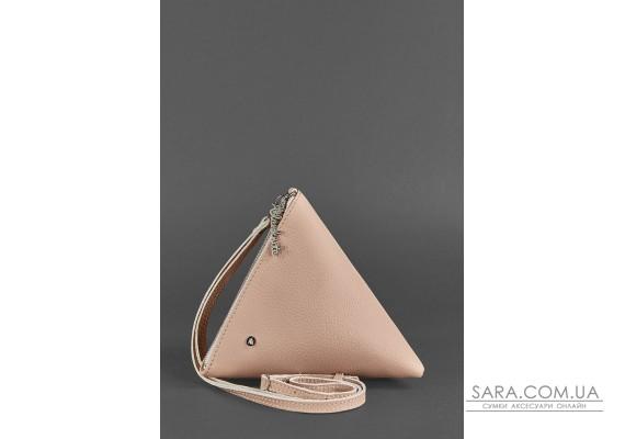 Шкіряна жіноча сумка-косметичка Піраміда світло-бежева - BN-BAG-25-crem-brule BlankNote