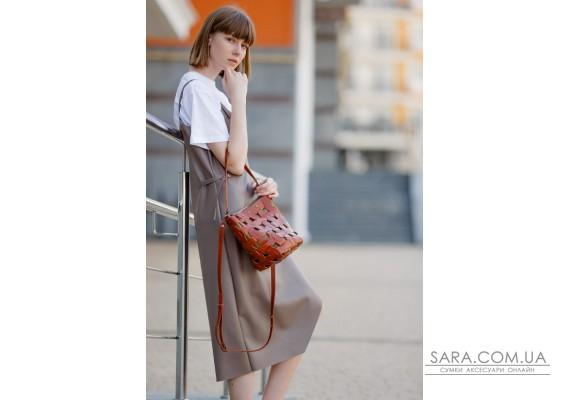 Шкіряна плетена жіноча сумка Пазл M світло-коричнева Krast - BN-BAG-32-k BlankNote