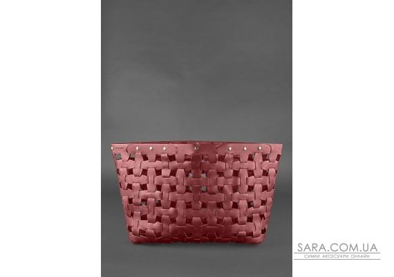 Шкіряна плетена жіноча сумка Пазл Xl бордова Krast - BN-BAG-34-vin BlankNote