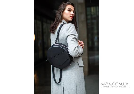 Шкіряна жіноча кругла сумка-рюкзак Maxi чорна - BN-BAG-30-g BlankNote