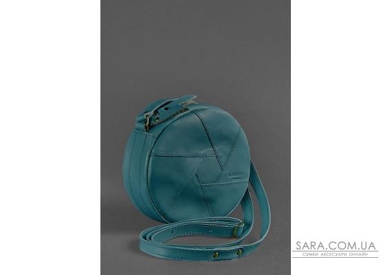 Шкіряна кругла жіноча сумка Бон-Бон зелена - BN-BAG-11-malachite BlankNote