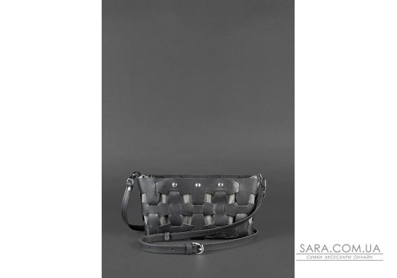 Шкіряна плетена жіноча сумка Пазл S чорна Krast - BN-BAG-31-g BlankNote