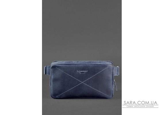 Шкіряна поясна сумка Dropbag Maxi синя - BN-BAG-20-nn BlankNote