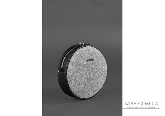 Кругла фетрова жіноча сумка Tablet з шкіряними чорними вставками - BN-BAG-23-felt-g BlankNote