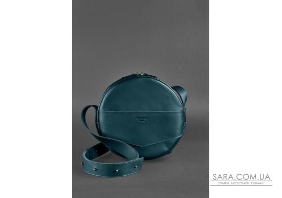 Шкіряна жіноча кругла сумка-рюкзак Maxi зелена - BN-BAG-30-malachite BlankNote