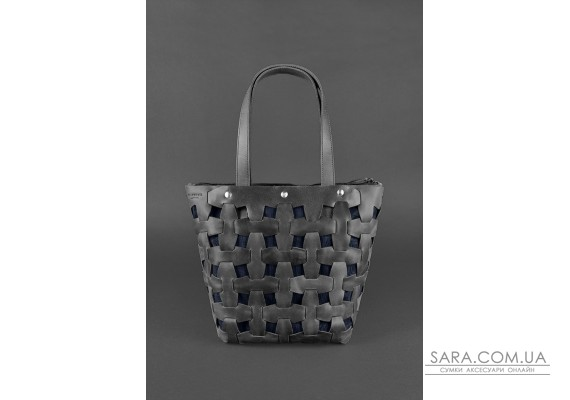 Шкіряна плетена жіноча сумка Пазл L чорна Crazy Horse - BN-BAG-33-g-kr BlankNote