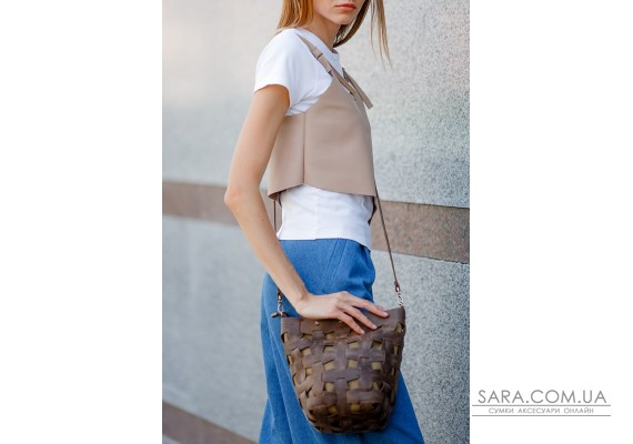 Шкіряна плетена жіноча сумка Пазл M темно-коричнева Crazy Horse - BN-BAG-32-o BlankNote