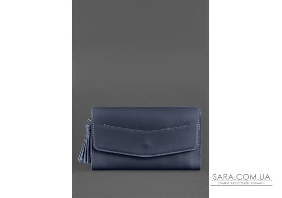 Шкіряна жіноча сумка Еліс темно-синя - BN-BAG-7-navy-blue BlankNote