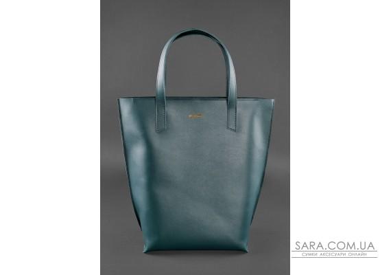 Шкіряна жіноча сумка шоппер D.D. зелена - BN-BAG-17-malachite BlankNote