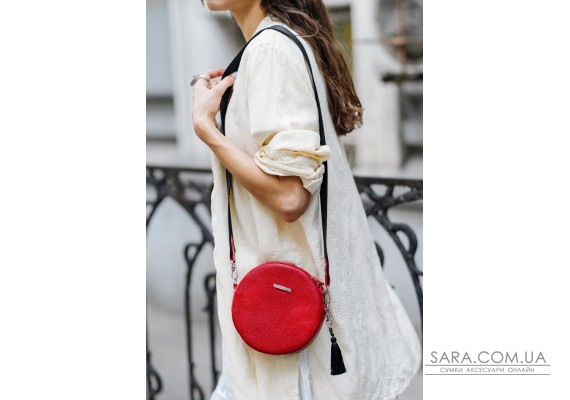 Кругла жіноча шкіряна сумочка Tablet червона - BN-BAG-23-rubin BlankNote
