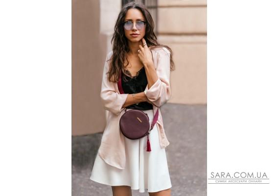 Кругла жіноча шкіряна сумочка Tablet Марсала - BN-BAG-23-marsala BlankNote