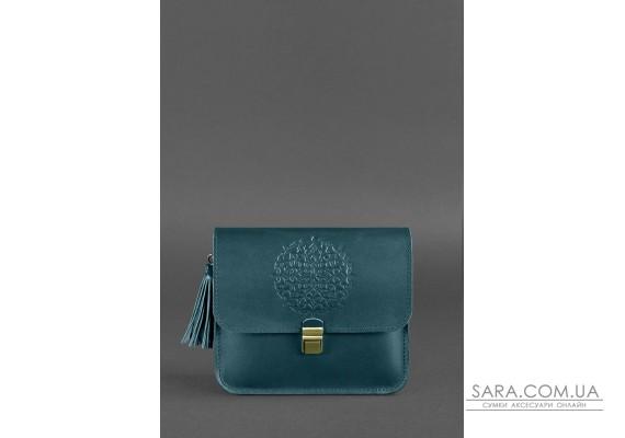 Шкіряна жіноча бохо-сумка Лілу зелена - BN-BAG-3-malachite BlankNote