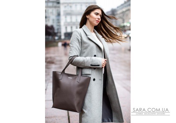 Шкіряна жіноча сумка шоппер D.D. темно-бежева - BN-BAG-17-beige BlankNote