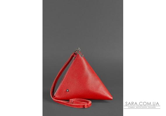 Кожаная женская сумка-косметичка Пирамида красная - BN-BAG-25-rubin BlankNote