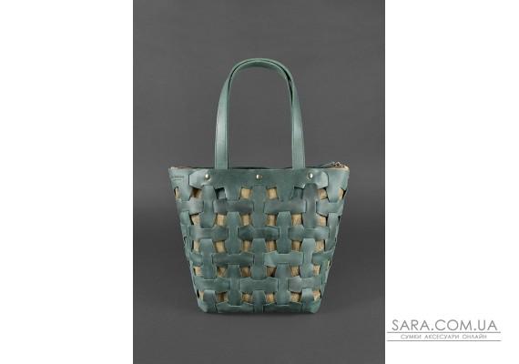 Шкіряна плетена жіноча сумка Пазл L зелена Crazy Horse - BN-BAG-33-iz BlankNote