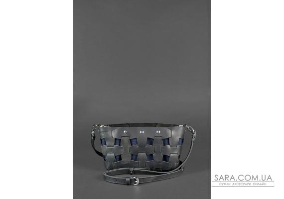 Шкіряна плетена жіноча сумка Пазл S чорна Crazy Horse - BN-BAG-31-g-kr BlankNote