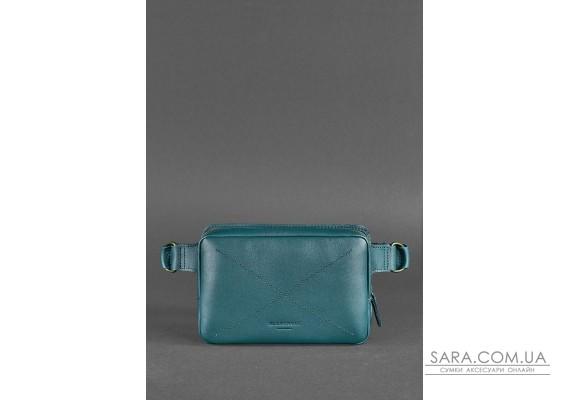 Шкіряна поясна сумка Dropbag Mini зелена - BN-BAG-6-malachite BlankNote