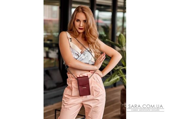 Вертикальна жіноча шкіряна сумка Mini поясна / кроссбоді бордова - BN-BAG-38-1-vin BlankNote