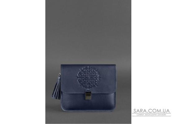 Шкіряна жіноча бохо-сумка Лілу темно-синя - BN-BAG-3-navy-blue BlankNote