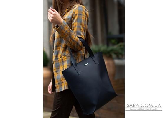 Шкіряна жіноча сумка шоппер D.D. темно синя - BN-BAG-17-navy-blue BlankNote