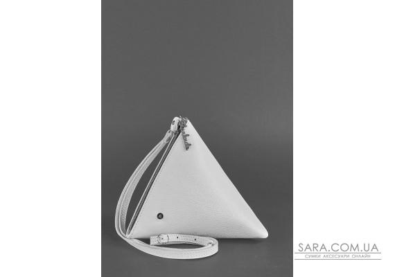 Кожаная женская сумка-косметичка Пирамида белая - BN-BAG-25-white BlankNote