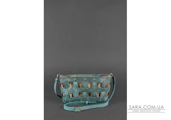 Шкіряна плетена жіноча сумка Пазл S зелена Crazy Horse - BN-BAG-31-iz BlankNote