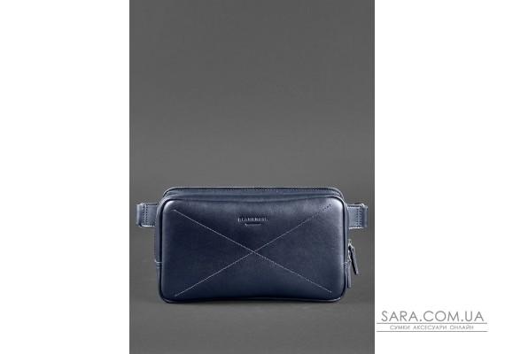 Шкіряна поясна сумка Dropbag Maxi темно-синя - BN-BAG-20-navy-blue BlankNote
