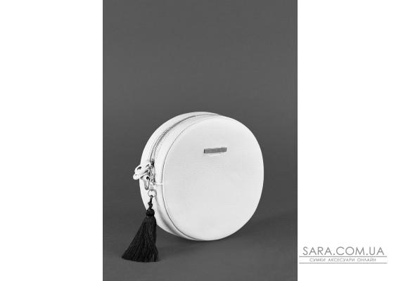 Кругла жіноча шкіряна сумочка Tablet біла - BN-BAG-23-light BlankNote