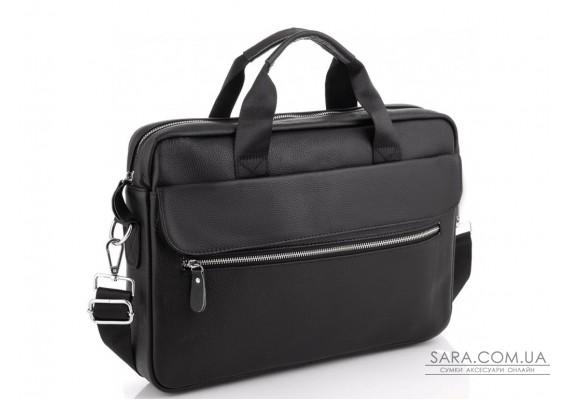 Сумка для ноутбука шкіряна чоловіча чорна Tiding Bag A25-1127A