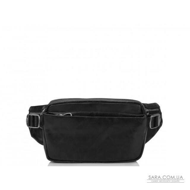 Сумка на пояс з натуральної шкіри чорна Tiding Bag 1001A недорого