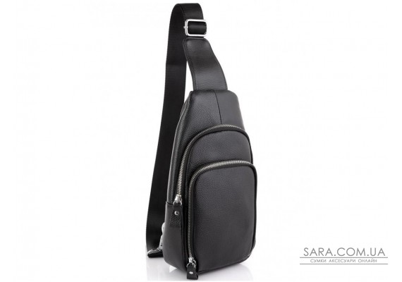 Шкіряний чорний слінг через плече Tiding Bag A25F-5058A