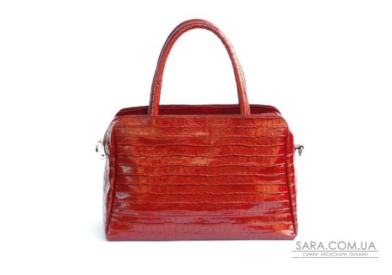 Сумка кожаная женская S550203-red кайман красная