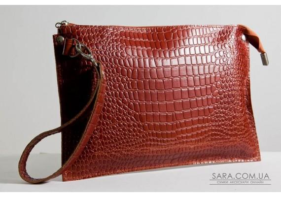 Женский клатч кожаный K010211-ginger кайман рыжий