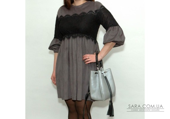 Сумка шкіряна жіноча S250171-grayblack сріблясто-чорна