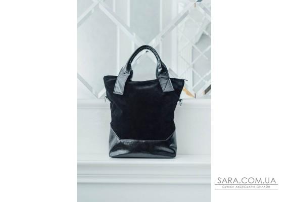 Сумка шкіряна жіноча S400601-black чорна замша / наплак