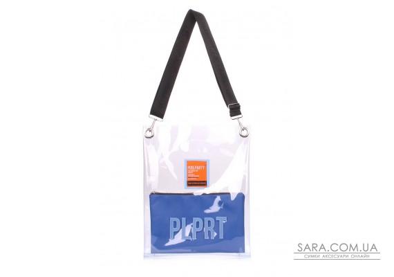 Прозора сумка Clear з ременем на плече (clear-blue-extra)