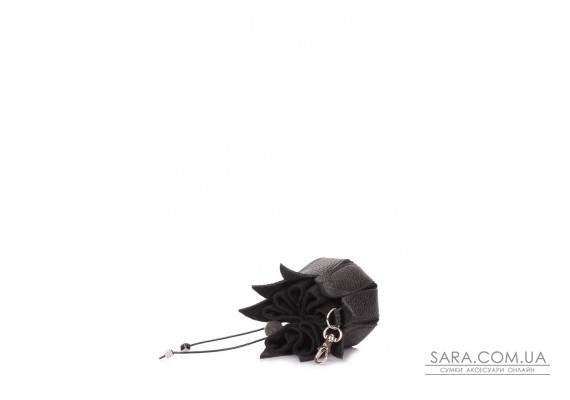 Кожаная ключница-цветок (keychain-flower-black)