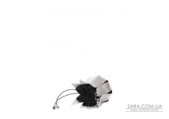 Серебряная кожаная ключница-цветок (keychain-flower-silver)