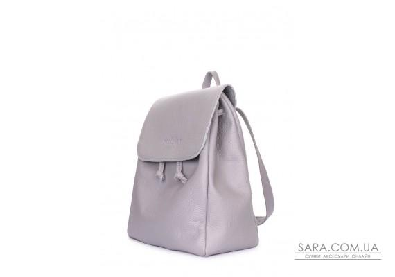 Рюкзак шкіряний на зав'язках POOLPARTY Paris (paris-grey)