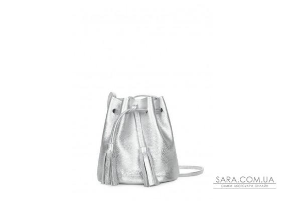 Срібна шкіряна сумочка на зав'язках Bucket (bucket-silver)