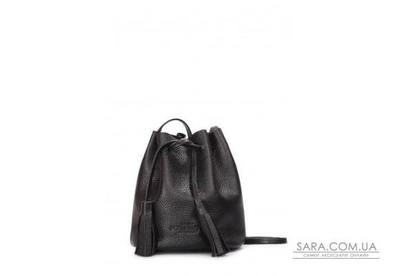 Чорна шкіряна сумочка на зав'язках Bucket (bucket-black)