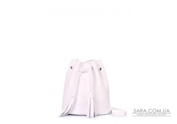 Біла шкіряна сумочка на зав'язках Bucket (bucket-white)