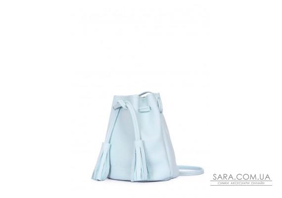 Блакитна шкіряна сумочка на зав'язках Bucket (bucket-blue)