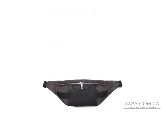 Поясна сумка Banana зі шкіряним оздобленням (banana-leather-graphite)