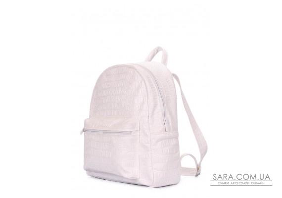 Білий рюкзак XS з тисненням під крокодила (xs-croco-white)