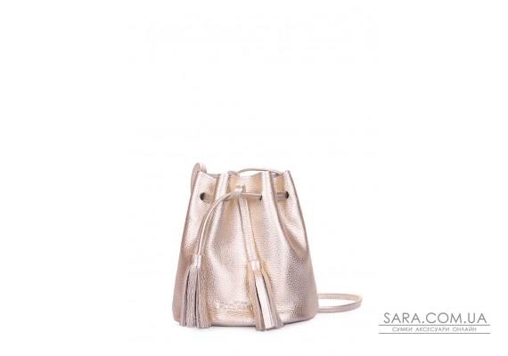 Золотая кожаная сумочка на завязках Bucket (bucket-gold)