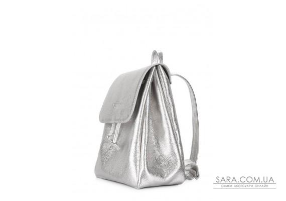 Срібний шкіряний рюкзак на зав'язках Paris (paris-silver)