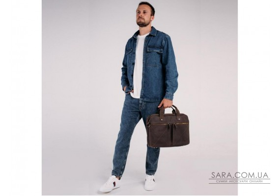 Вінтажна сумка для ноутбука коричнева Tiding Bag D4-012R